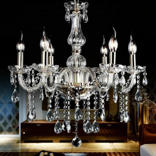 modern crystal pendant 6 candle lamp ceiling
