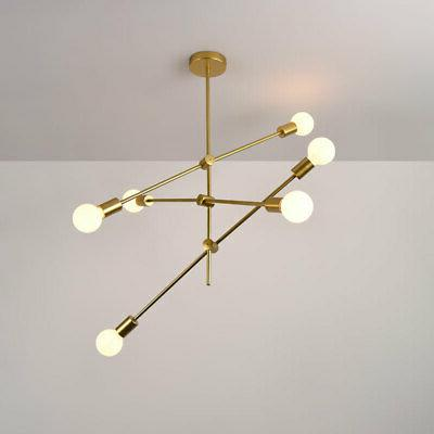 Modern Gold Metal Fixture Branch 6 Arms Pendant