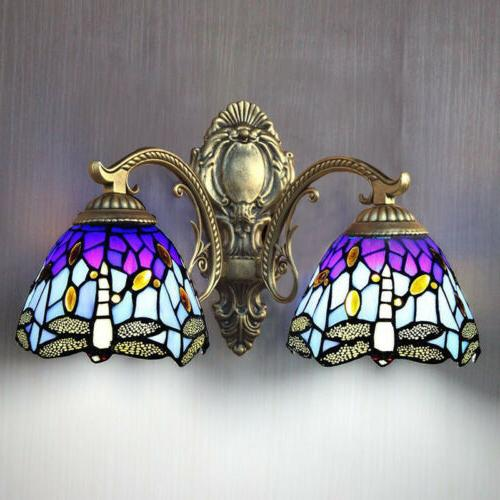 New 2-light Tiffany Style Mirror Wall Sconce Stained Glass W
