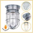 OUTDOOR CAGED CEILING LIGHT Industrial Metal Flush Mount Lam