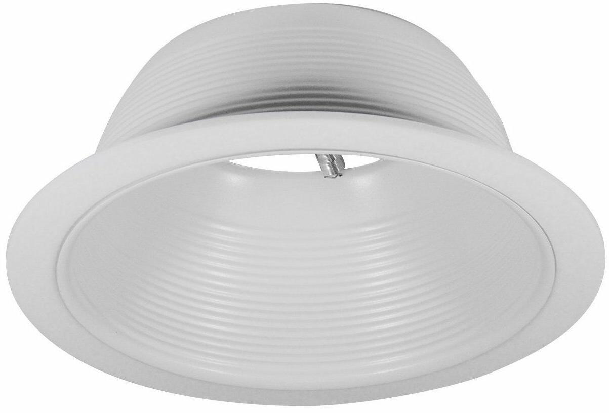 Recessed Can Light Trim - 6 Inch Stepped White Baffle Trim -