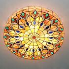 Retro 4-Light Tiffany Style Stained Glass Peacock Big Ceilin