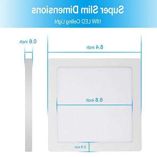 AVANLO Super Slim Inch LED Ceiling 120V 18W , Dimmable, Square, for 3.5-4'' Housing & 1