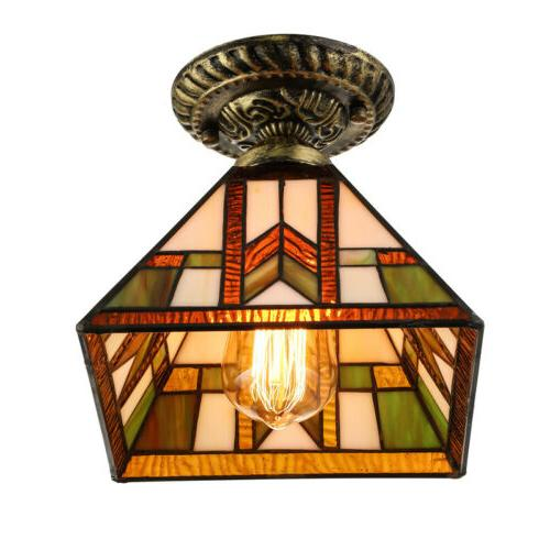 Tiffany Mission Style Ceiling Light Stained Ceiling