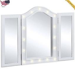 Best Choice Products Lit Tabletop Tri-Fold Vanity Mirror w/