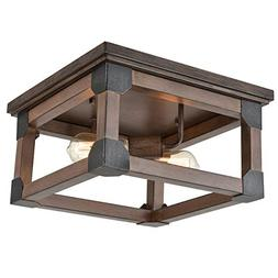 CLAXY Lighting Rustic Flush Mount Ceiling Lights with Wood-L