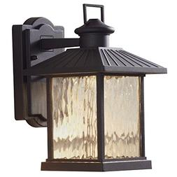 Hampton Bay Lumsden 7 in. Black Outdoor Integrated LED Wall