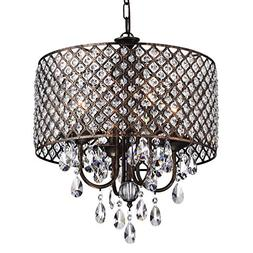 Edvivi Marya 4-Lights Antique Copper Round Crystal Chandelie