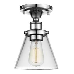 Globe Electric Mercer 1-Light Chrome Flush Mount Ceiling Lig