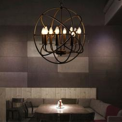 Metal Orb Chandelier Lamp Globe Cage Ceiling Pendant Light R