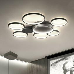 Modern 7-Ring Remote Dimmable LED Chandelier Flush Mount Cei