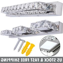 Modern Bathroom LED Crystal Mirror Light Front Wall Lamp Fix