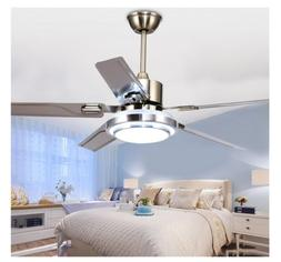 Modern Ceiling Fan Light Reversible Stainless Steel Blade LE