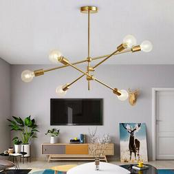 Modern Gold Metal Ceiling Fixture Adjustable Branch 6 Arms L
