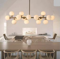 Modern Simple Ceiling Light Gold Rod Chandelier Round Glass