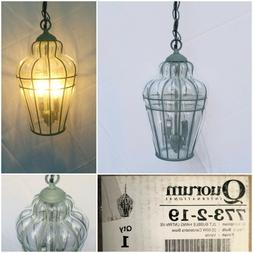 New Quorum Wired Bubble Glass Swag Light Fixture Verde Green