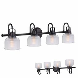 Oil Rubbed Bronze 4 Bulb Vanity Light Bath Wall Fixture Clea