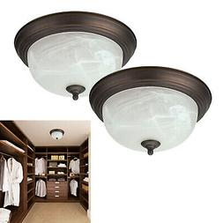 "Oil Rubbed Bronze Flush Mount Ceiling Light Fixture 13"" Alab"