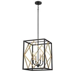 Quoizel Platform 16-in Black with Gold Hardwired Multi-Light