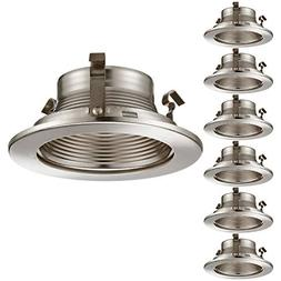 6 Pack 4 Inch Recessed Can Light Trim with Satin Nickel Meta