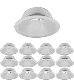 6 Inch Recessed Can Light Trim - White Metal Step Baffle for
