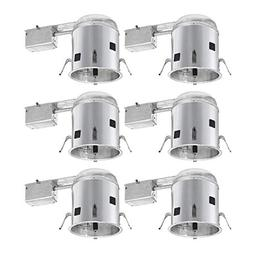 6 Pack 6 inch Recessed Housing,75W Max,Air tight/IC housing/