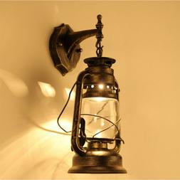 Retro Antique Vintage Rustic Lantern Lamp Wall Sconce Light