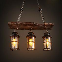 rustic country chandelier industrial wood 3 light