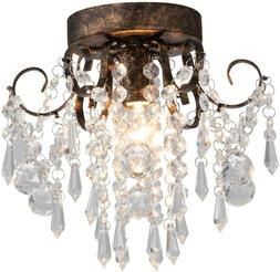 Rustic Flush Mount Ceiling Light Fixture Vintage Crystal Cha