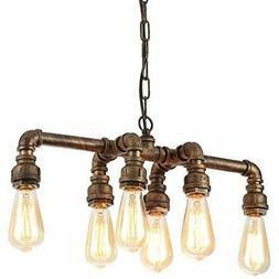 SEOL-LIGHT Industrial Pipe Chandeliers With 6 Lights, Max 36