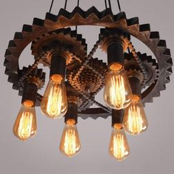 Steampunk Gear Pipe Chandelier Edison Light Heavy Metal Pend