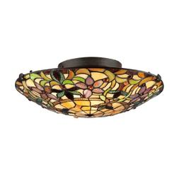 Quoizel TF1396SVB Two Tiffany Round Glass Flush Mount Ceilin