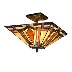 Tiffany Mission 2-Light Semi Flush Ceiling Lamp Stained Glas