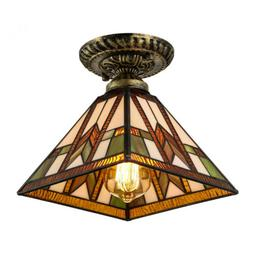 tiffany mission style ceiling light vintage stained