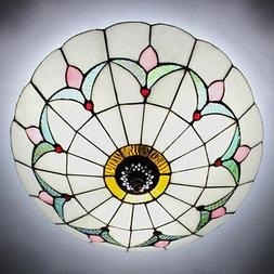 Tiffany Style Stained Glass Ceiling Lighting Fixture Flush M