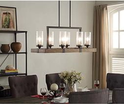 Vineyard Rustic Style 6-Light Glass Fixture Metal And Wood C