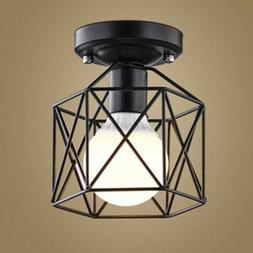 Vintage Industrial Entry Pendant Lamp Cage Shade Semi Flush