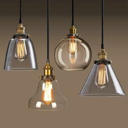 Vintage Industrial Loft Hanging Pendant Light Fixture Glass