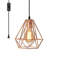 EFINEHOME Vintage Industrial Rose Gold Pyramid Metal Cage Pe