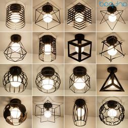 Vintage Loft Black Iron Cage Led <font><b>Ceiling</b></font>