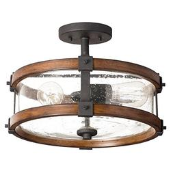 Kichler 38171 Distressed Wood Semi Flush Mount Light, 3, Bla