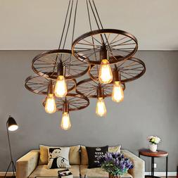 Wagon Wheel Chandelier Rustic Hanging Light Fixture Ceiling