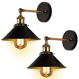 Wall Sconces 2-Pack JACKYLED UL Black Hardwire Industrial Vi