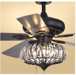"Warehouse of Tiffany CFL-8306 52"" Crystal Ceiling Fan Light"